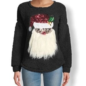 3/$24 🍁 Sequined Santa-Face Crewneck Pullover
